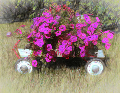 Digital Art - Petunias To Go by Leslie Montgomery