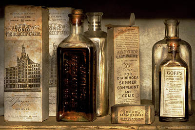 Photograph - Pharmacy - Things In Bottles And Boxes by Mike Savad