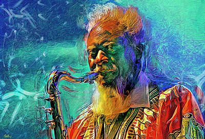 Jazz Mixed Media Royalty Free Images - Pharoah Sanders  Royalty-Free Image by Mal Bray