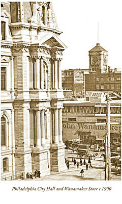 Photograph - Philadelphia City Hall And Wanamaker Store C 1900 Vintage Photog by A Gurmankin