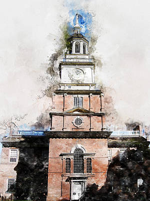 Painting - Philadelphia Independence Hall - 01 by Andrea Mazzocchetti