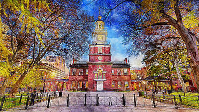 Painting - Philadelphia Independence Hall - 03 by Andrea Mazzocchetti