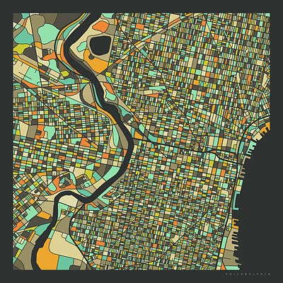 City Digital Art - Philadelphia Map 2 by Jazzberry Blue