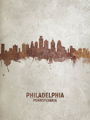 Digital Art - Philadelphia Pennsylvania Rust Skyline by Michael Tompsett