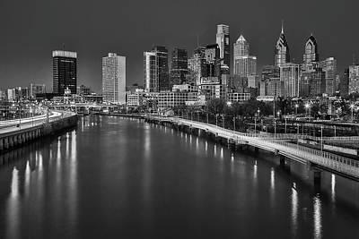 Photograph - Philadelphia Skyline At Twilight Bw by Susan Candelario