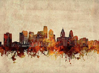Abstract Skyline Royalty-Free and Rights-Managed Images - Philadelphia Skyline Sepia by Bekim M