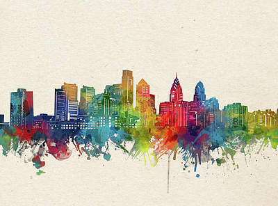 Abstract Skyline Royalty-Free and Rights-Managed Images - Philadelphia Skyline Watercolor by Bekim M