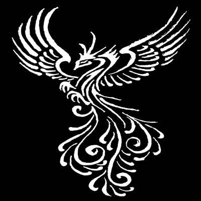 Painting - Phoenix Bird White Tribal Tattoo Design  by Taiche Acrylic Art