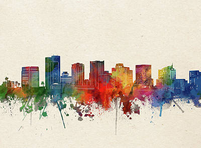 Abstract Skyline Royalty-Free and Rights-Managed Images - Phoenix Skyline Watercolor by Bekim M