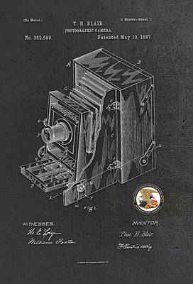 Photograph - Photographic Camera Patent Drawing by Carlos Diaz