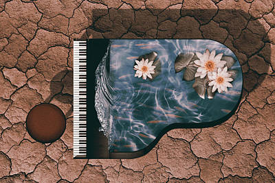 Lilies Digital Art - Piano by Mihaela Pater