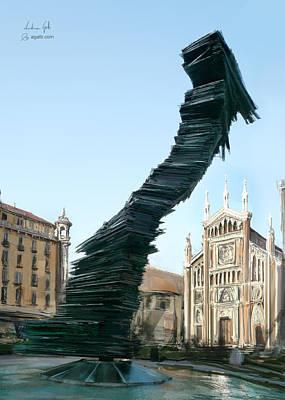 Martini Digital Art - Piazza Benefica painting by Andrea Gatti