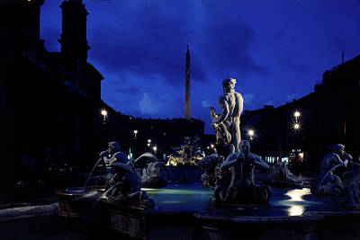 Photograph - Piazza Navona At Night by Dmitri Kessel