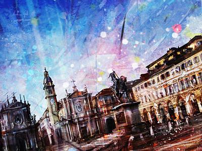 Surrealism Digital Art - Piazza San Carlo by Andrea Gatti