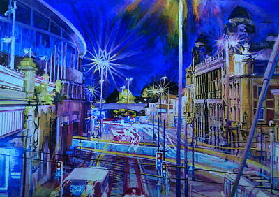Painting - Piccadilly Station With Tram At Night by Rosanne Gartner