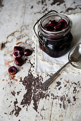 Jar Photograph - Pickled Cherries In Vintage Glass Jar by Kelly Sterling Photography