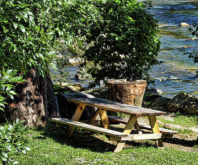 Photograph - Picnic Table By The River by Cathy Harper