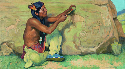 Petroglyph Painting - Pictographs by Eanger Irving Couse