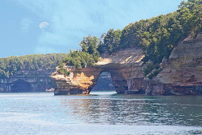 Photograph - Pictured Rocks #2 - Sea Arch With Moon by Patti Deters