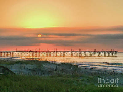 Photograph - Pier At Sunrise - Ocean Isle Beach North Carolina  by Kerri Farley