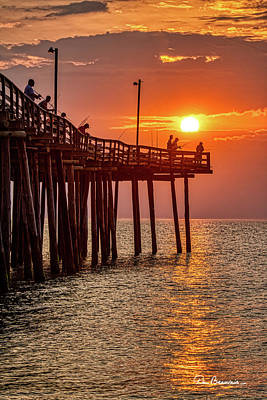 Dan Beauvais Royalty Free Images - Pier Fishing at Sunrise 3216 Royalty-Free Image by Dan Beauvais