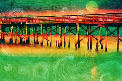 Photograph - Pier Full Moon Vangoghed by Alice Gipson