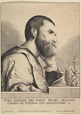 Drawing - Pietro Aretino by Wenceslaus Hollar
