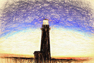Rowing Royalty Free Images - Pigeon Point Lighthouse Color Pencil Drawing Royalty-Free Image by Wernher Krutein