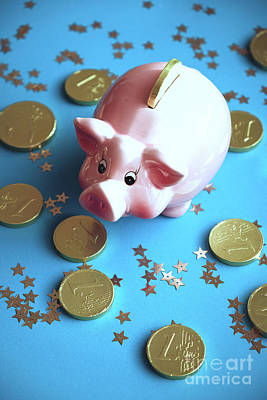 Piggy Bank On The Background With The  Chocoladen Coins Art Print