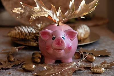 Photograph - Piggy Bank On The Golden Background by Marina Usmanskaya