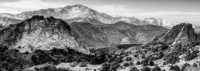 Photograph - Pikes Peak Mountain Landscape Panorama Infrared Monochrome  - Colorado Springs by Gregory Ballos