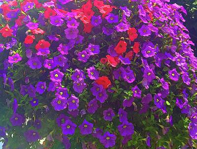 Landscape Photos Chad Dutson - Pile Of Petunias by Cindy Boyd