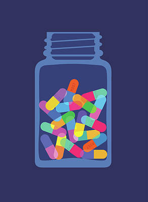 Pills And Capsules In Bottle Art Print by Smartboy10