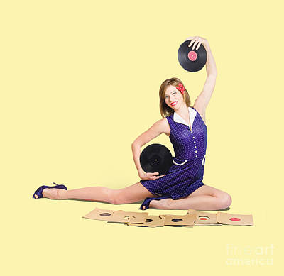 Jazz Photos - Pin-up woman balancing sound with record music by Jorgo Photography - Wall Art Gallery