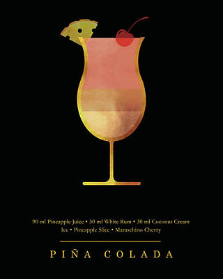Digital Art Royalty Free Images - Pina Colada - Cocktail - Classic Cocktails Series - Black and Gold - Modern, Minimal Decor Royalty-Free Image by Studio Grafiikka