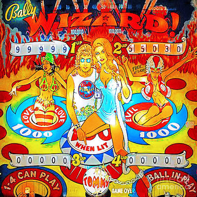 Photograph - Pinball Wizard Arcade Nostalgia 20181220 Square by Wingsdomain Art and Photography
