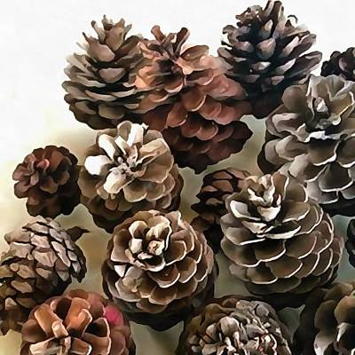 Painting - Pine Cones Organic Christmas Ornaments by Taiche Acrylic Art
