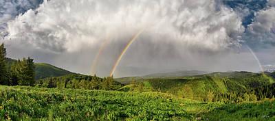 Photograph - Pine Creek Pass Rainbow Panoramic by Leland D Howard