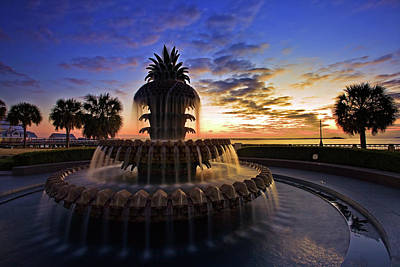 Drinking Photograph - Pineapple Fountain In Charleston by Sam Antonio Photography