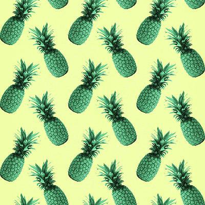 Royalty-Free and Rights-Managed Images - Pineapple Pattern - Tropical Pattern - Summer- Pineapple Wall Art - Blue, Beige - Minimal by Studio Grafiikka