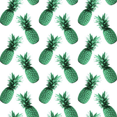 Mixed Media Royalty Free Images - Pineapple Pattern - Tropical Pattern - Summer- Pineapple Wall Art - Blue, White - Minimal Royalty-Free Image by Studio Grafiikka