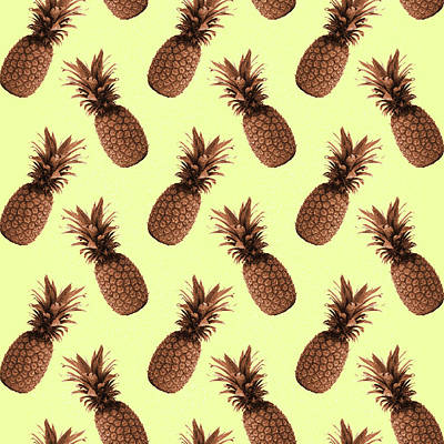 Royalty-Free and Rights-Managed Images - Pineapple Pattern - Tropical Pattern - Summer- Pineapple Wall Art - Brown, Beige - Minimal by Studio Grafiikka