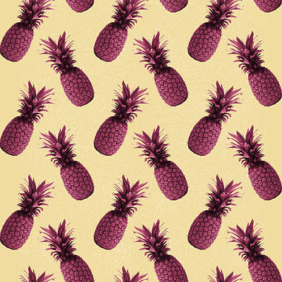 Mixed Media - Pineapple Pattern - Tropical Pattern - Summer- Pineapple Wall Art - Purple, Beige - Minimal by Studio Grafiikka