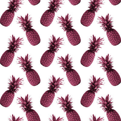 Mixed Media - Pineapple Pattern - Tropical Pattern - Summer- Pineapple Wall Art - Purple, White - Minimal by Studio Grafiikka