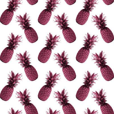 Mixed Media Royalty Free Images - Pineapple Pattern - Tropical Pattern - Summer- Pineapple Wall Art - Purple, White - Minimal Royalty-Free Image by Studio Grafiikka
