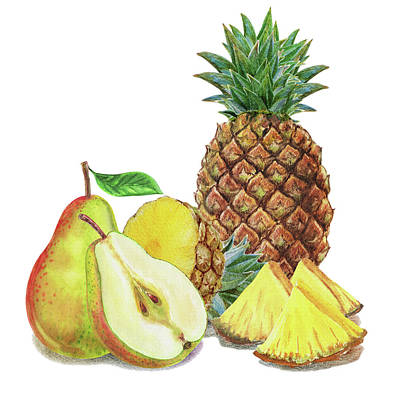 Painting - Pineapple Pear Watercolor Food Illustration  by Irina Sztukowski