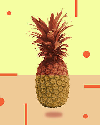 Royalty-Free and Rights-Managed Images - Pineapple Print - Tropical Decor - Botanical Print - Pineapple Wall Art - Beige, Peach - Minimal by Studio Grafiikka
