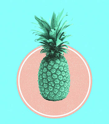 Royalty-Free and Rights-Managed Images - Pineapple Print - Tropical Decor - Botanical Print - Pineapple Wall Art - Blue - Minimal, Modern by Studio Grafiikka