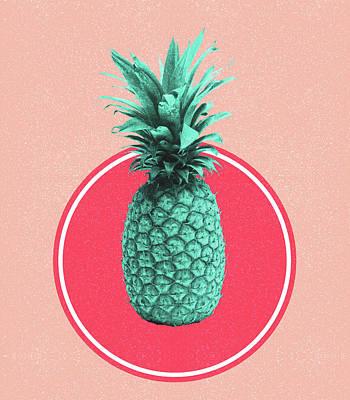 Mixed Media - Pineapple Print - Tropical Decor - Botanical Print - Pineapple Wall Art - Blue, Pink - Minimal by Studio Grafiikka
