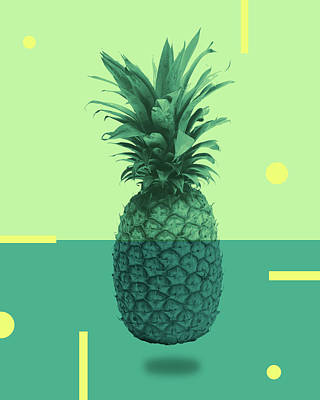 Royalty-Free and Rights-Managed Images - Pineapple Print - Tropical Decor - Botanical Print - Pineapple Wall Art - Blue, Teal, Aqua - Minimal by Studio Grafiikka